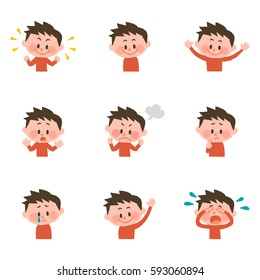 illustration of various facial expressions of a boy