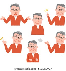 illustration of various facial expressions of a man