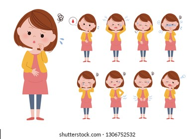 Illustration of various facial expressions of pregnant women.