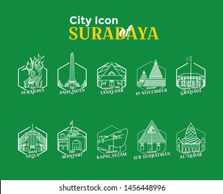 Illustration of various historical places in the city of Surabaya