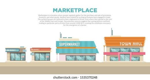 Illustration of various marketplace store buildings. Shop and Trade business building from the front view. Cartoon drawing of a shop building.