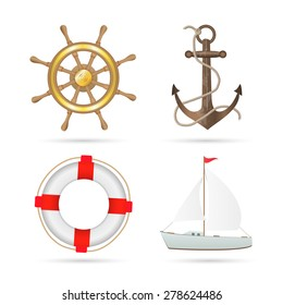 Illustration of various nautical items isolated on a white background.