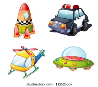 illustration of various objects on white background