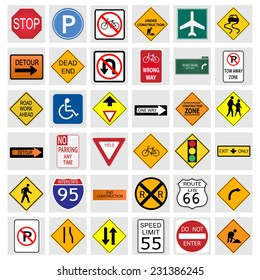 Illustration of various road signs isolated on a white background.