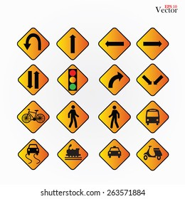 Illustration of various road signs isolated on gray background.
