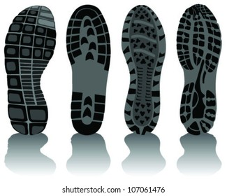 Illustration of various shoe print-vector