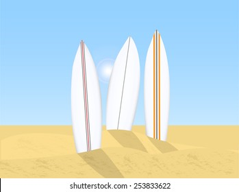 Illustration of various surfboards, sand, sky and sun.