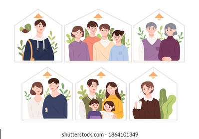 Illustration of various types of families. Single, nuclear family, newlyweds, old couples.