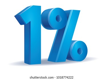 illustration Vector of 1 percent blue color in white background