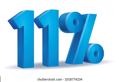 illustration Vector of 11 percent blue color in white background