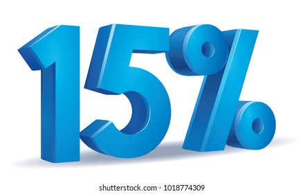 illustration Vector of 15  percent blue color in white background