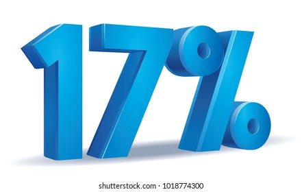 illustration Vector of 17 percent blue color in white background