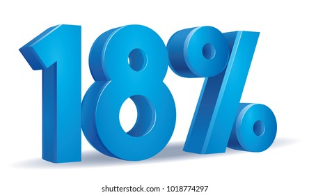 illustration Vector of 18 percent blue color in white background