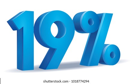 illustration Vector of 19 percent blue color in white background
