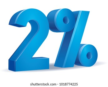 illustration Vector of 2 percent blue color in white background