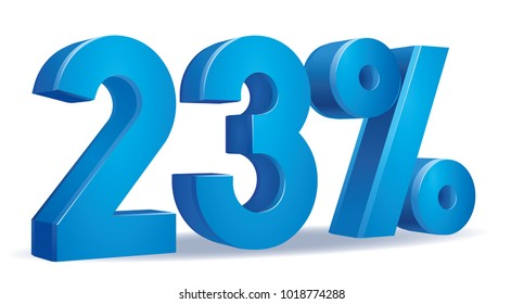 illustration Vector of 23 percent blue color in white background