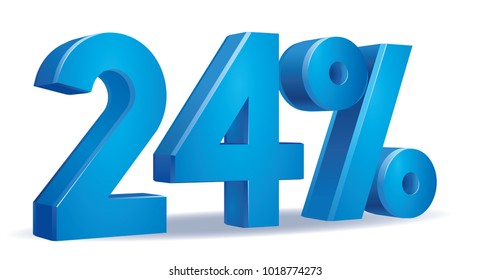 illustration Vector of 24 percent blue color in white background