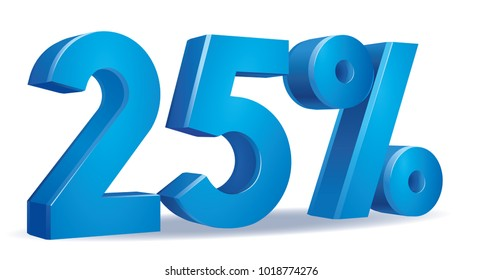 illustration Vector of 25  percent blue color in white background