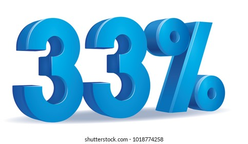 illustration Vector of 33 percent blue color in white background