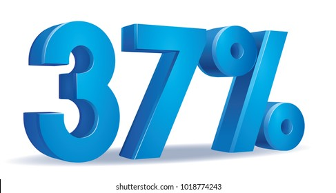 illustration Vector of 37 percent blue color in white background