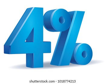 illustration Vector of 4 percent blue color in white background