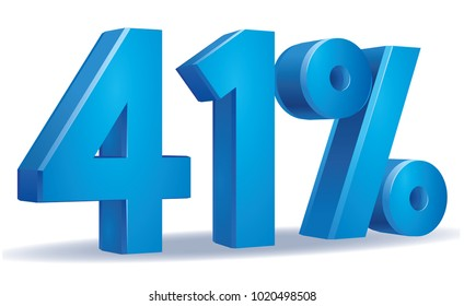 illustration Vector of 41 percent blue color in white background