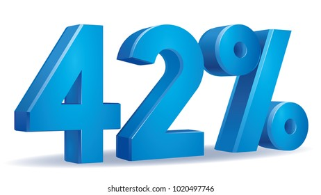 illustration Vector of 42 percent blue color in white background