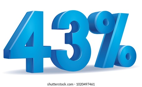 illustration Vector of 43 percent blue color in white background