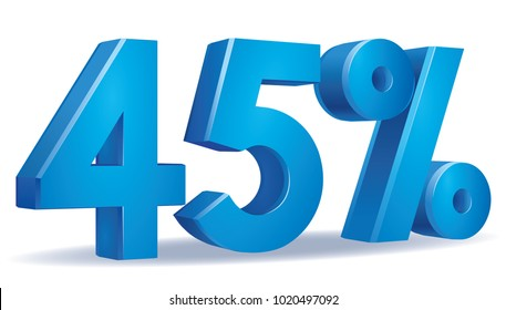 illustration Vector of 45 percent blue color in white background