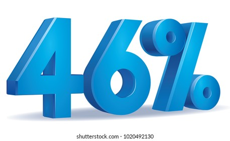 illustration Vector of 46 percent blue color in white background