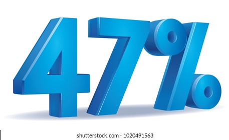 illustration Vector of 47 percent blue color in white background