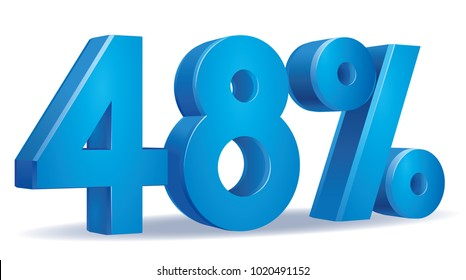 illustration Vector of 48 percent blue color in white background