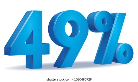 illustration Vector of 49 percent blue color in white background