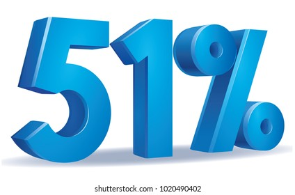 illustration Vector of 51 percent blue color in white background