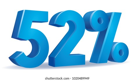 illustration Vector of 52 percent blue color in white background