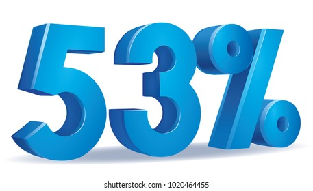 illustration Vector of 53 percent blue color in white background