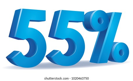illustration Vector of 55 percent blue color in white background