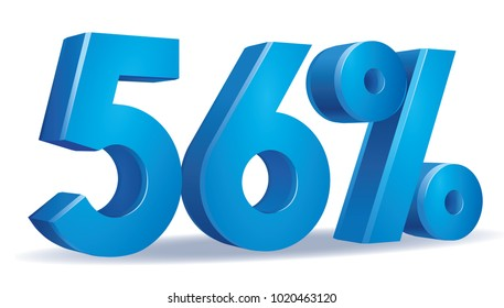 illustration Vector of 56 percent blue color in white background