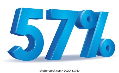 illustration Vector of 57  percent blue color in white background