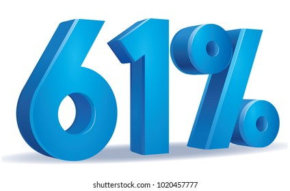 illustration Vector of 61 percent blue color in white background