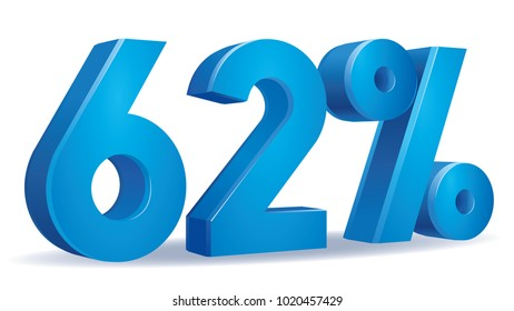 illustration Vector of 62 percent blue color in white background