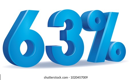 illustration Vector of 63 percent blue color in white background