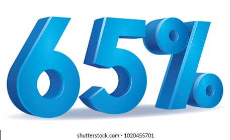 illustration Vector of 65 percent blue color in white background