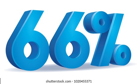 illustration Vector of 66 percent blue color in white background