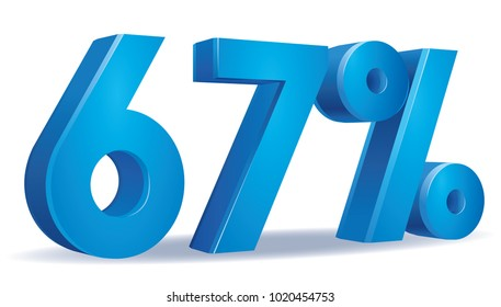 illustration Vector of 67 percent blue color in white background