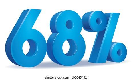 illustration Vector of 68 percent blue color in white background