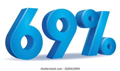 illustration Vector of 69 percent blue color in white background