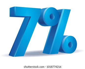 illustration Vector of 7 percent blue color in white background
