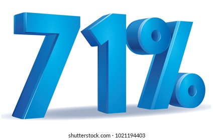 illustration Vector of 71 percent blue color in white background