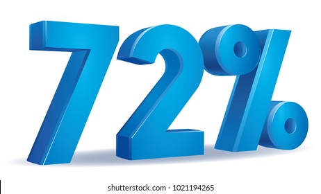 illustration Vector of 72 percent blue color in white background